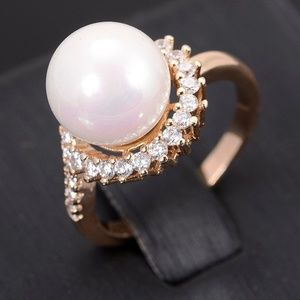 Pearl Ring Cubic Zirconia Halo Gold Plated Size 6